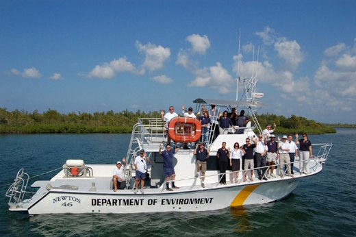 Doe boat and staff