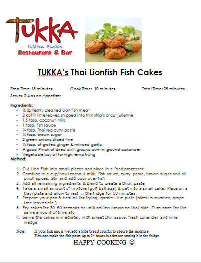 Lionfish recipes lionfish hunting the reason why it is my favorite recipe is because i have cooked lionfish fish cakes many times and i love them my wife regards them as addictive and forumfinder Gallery